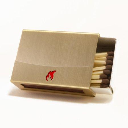 Messinghuelle für Streichholzschachtel mit roter Flamme