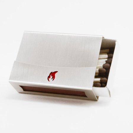 Streichholzschachtel - Huelle mit roter Flamme aus Edelstahl