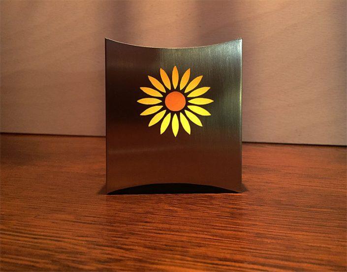 Edelstahl Windlicht mit Sonnenblume