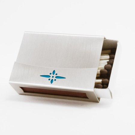 """Streichholzschachtel - Huelle """"Bluete"""" aus Edelstahl mit blauem Motiv"""