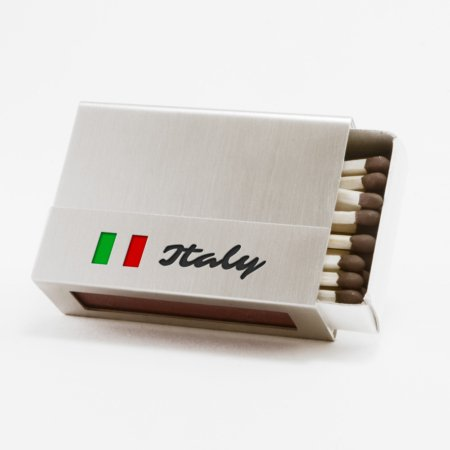 """Streichholzschachtel - Huelle """"Italy"""" aus Edelstahl"""