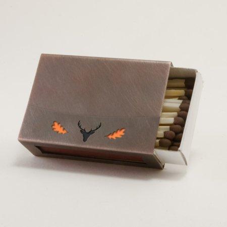 Streichholzschachtel - Huelle aus Kupfer mit orangenem Eichenlaub und schwarzem Hirschkopf