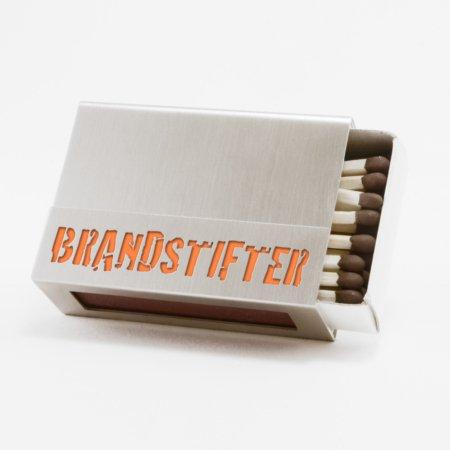 """Streichholzschachtel - Huelle """"Brandstifter"""" aus Edelstahl mit orangener Schrift"""