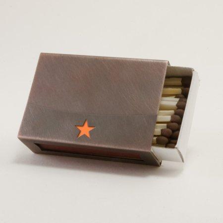 Streichholzschachtel - Huelle mit orangenem Stern aus Kupfer