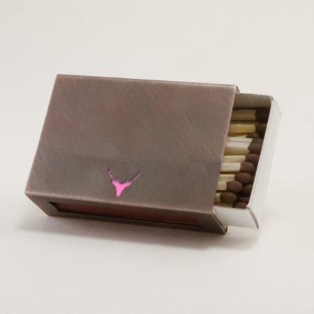 Streichholzschachtel - Huelle aus Kupfer mit pinkfarbenem Hirschkopf