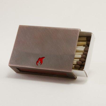 Streichholzschachtel - Huelle mit roter Flamme aus Kupfer