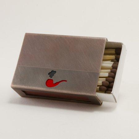 Streichholzschachtel - Huelle aus Kupfer mit roter Pfeife