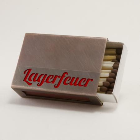 """Streichholzschachtel - Huelle """"Lagerfeuer"""" aus Kupfer mit roter Schrift"""