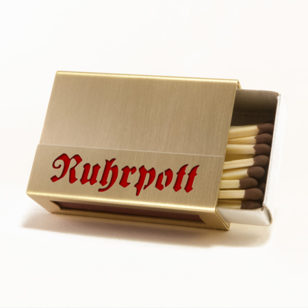 """Streichholzschachtel - Huelle """"Ruhrpott"""" aus Messing mit roter Schrift"""