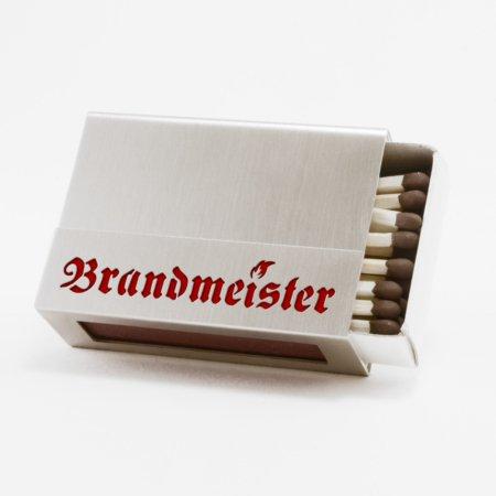 """Streichholzschachtel - Huelle """"Brandmeister"""" aus Edelstahl mit roter Schrift"""