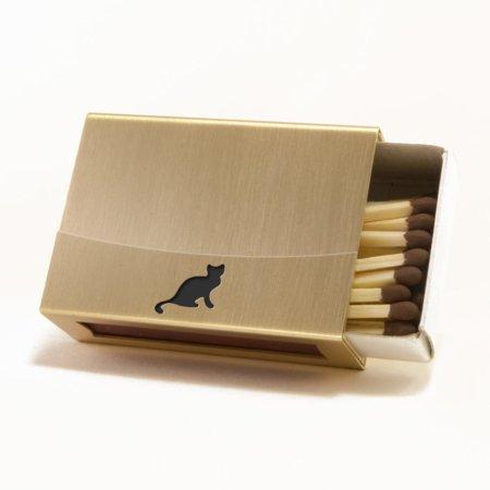 Streichholzschachtel - Huelle aus Messing mit schwarzer Katze