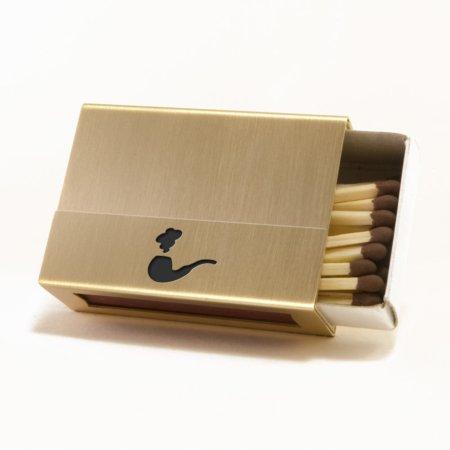 Streichholzschachtel - Hülle mit Pfeife aus Messing