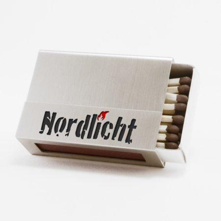 """Streichholzschachtel - Huelle """"Nordlicht"""" aus Edelstahl in schwarzer Schrift"""