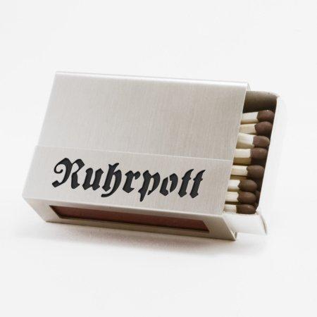 """Streichholzschachtel - Huelle """"Ruhrpott"""" aus Edelstahl in schwarzer Schrift"""