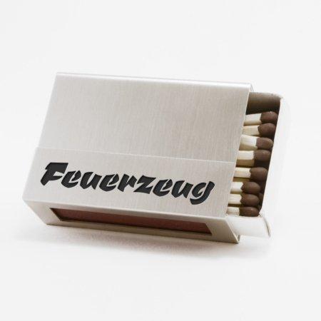 """Streichholzschachtel - Huelle """"Feuerzeug"""" aus Edelstahl mit schwarzer Schrift"""