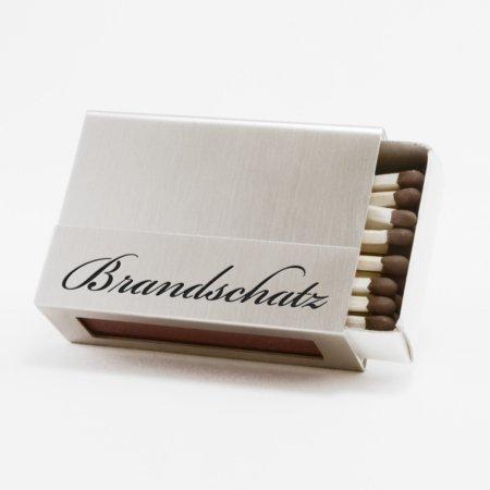 """Streichholzschachtel - Huelle """"Brandschatz"""" aus Edelstahl mit schwarzer Schrift"""