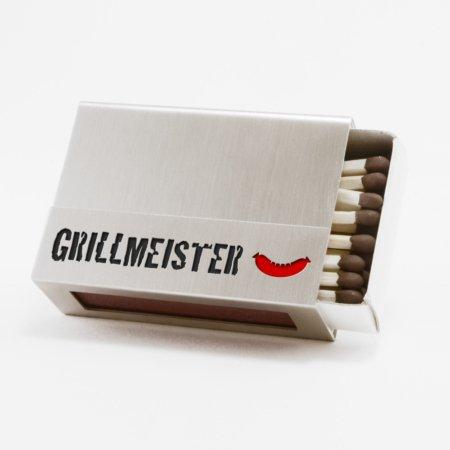 """Streichholzschachtel - Huelle """"Grillmeister"""" aus Edelstahl mit schwarzer Schrift und roter Grillwurst"""