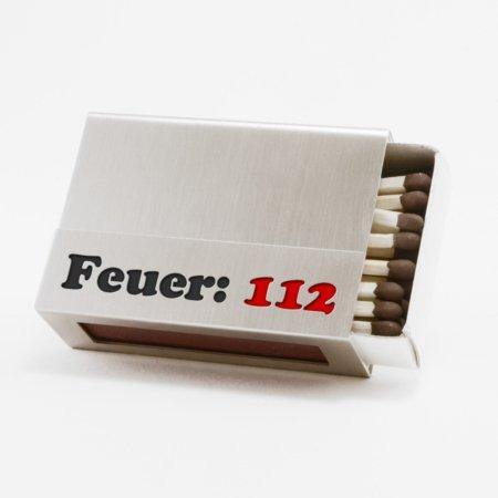 """Streichholzschachtel - Hülle """"Feuer:112"""" aus Edelstahl"""