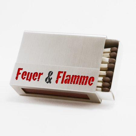 """Streichholzschachtel - Huelle """"Feuer und Flamme"""" aus Edelstahl mit roter und schwarzer Schrift"""