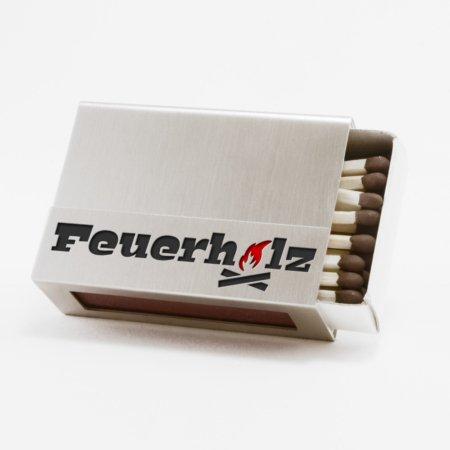 """Streichholzschachtel - Huelle """"Feuerholz"""" aus Edelstahl mit schwarzer und roter Schrift"""