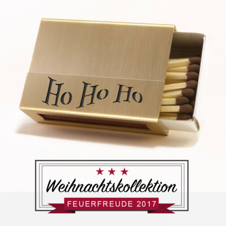 "Streichholzschachtel-Hülle ""Ho Ho Ho"" aus Messing"